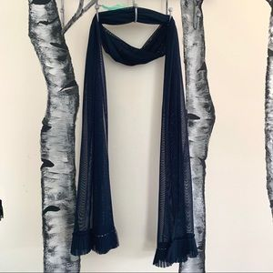 Accessories - Navy Blue Sheer Scarf - Embellished Edge